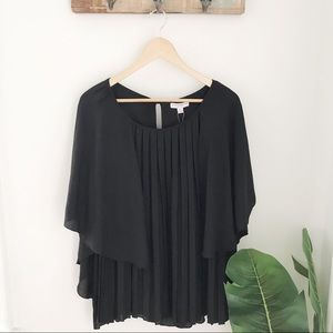NWT Katherine Barclay • Black Pleated Blouse